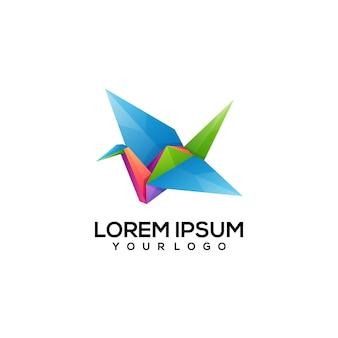 Ilustração colorida do logotipo origami flamingo