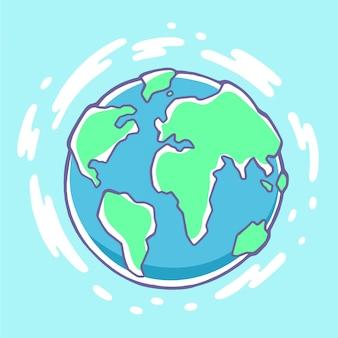 Ilustração colorida do planeta terra em fundo azul com nuvens.