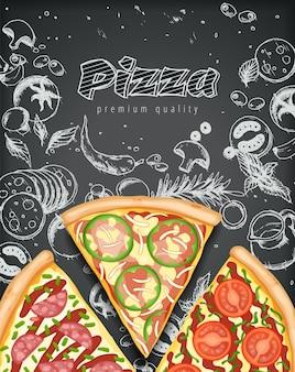 Ilustração colorida do pôster de pizza