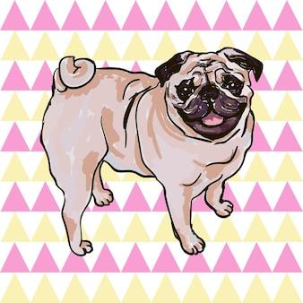 Ilustração colorida do vetor da raça do cão pug isolado no fundo branco