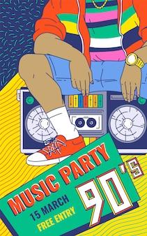 Ilustração colorida do vetor do esboço dos desenhos animados do fundo do partido retro da música dos anos 90.
