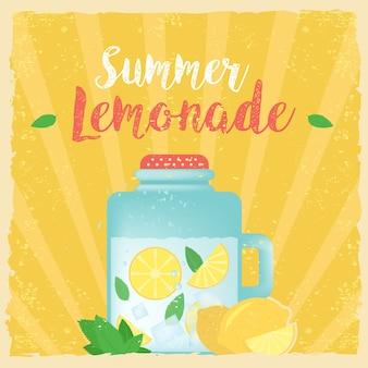 Ilustração colorida do vetor do poster da etiqueta da limonada do vintage colorido. fundo de verão. poster de efeitos, quadro, cores de fundo e texto de cores são editáveis. cartão de boas festas, cartão de férias feliz.