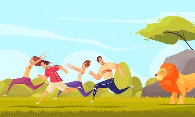 Ilustração colorida dos desenhos animados com pessoas adultas estressadas fugindo do leão na ilustração do fundo da natureza