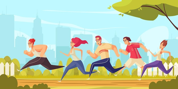 Ilustração colorida dos desenhos animados com um grupo de jovens em roupas esportivas correndo no parque da cidade.
