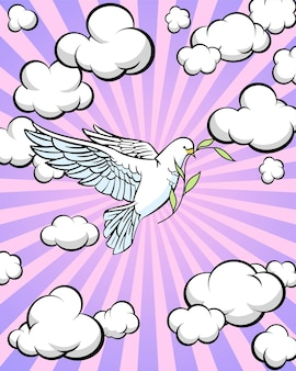 Ilustração colorida dos desenhos animados. pomba branca contra o céu com nuvens. ilustração vetorial