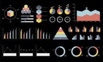 Ilustração colorida dos gráficos e dos diagramas do infográfico