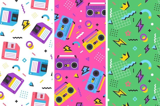 Ilustração colorida dos padrões do estilo memphis com design retro