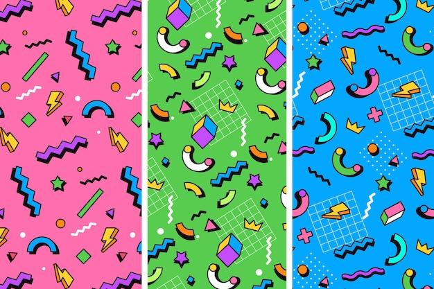 Ilustração colorida dos padrões do estilo memphis