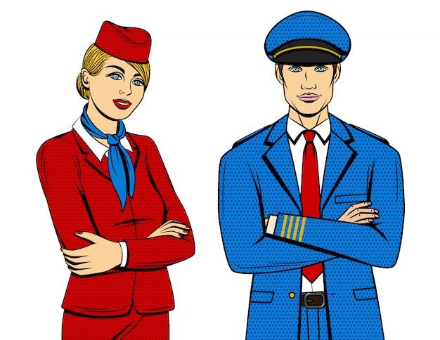Ilustração colorida estilo cômico pop art do piloto e aeromoça em pé com as mãos cruzadas