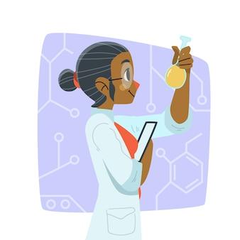 Ilustração colorida feminina cientista