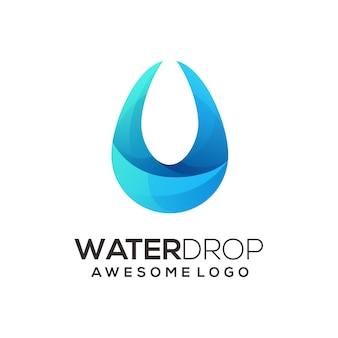 Ilustração colorida gradiente do logotipo da gota d'água