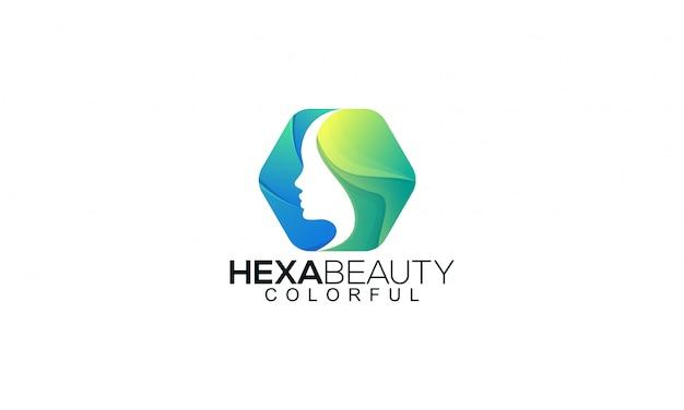 Ilustração colorida hexa beleza logotipo modelo.