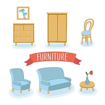 Ilustração colorida isolada de conjunto de móveis