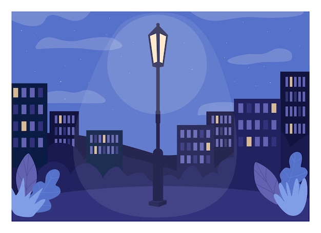 Ilustração colorida plana da cidade à meia-noite