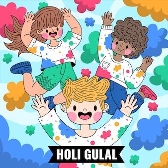 Ilustração colorida plana detalhada de holi gulal
