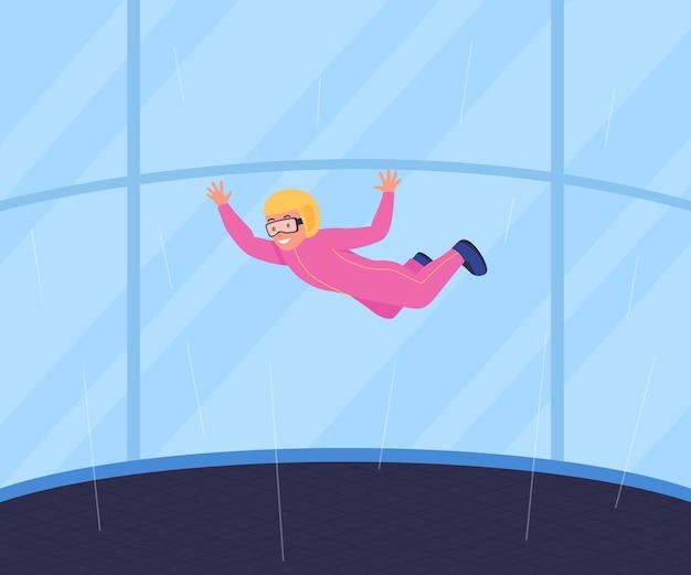 Ilustração colorida plana recreativa em túnel de vento