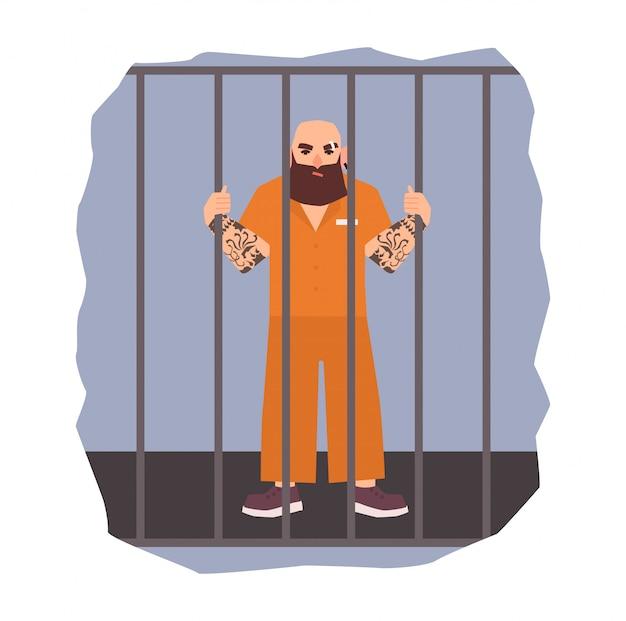 Ilustração colorida que caracteriza o prisioneiro masculino preso. homem bravo, segurando a célula de ferro. ilustração plana.