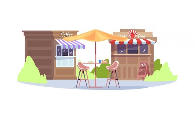 Ilustração colorida semi rgb da feira da cidade Vetor Premium