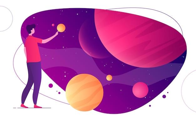 Ilustração colorida sobre o tema do espaço