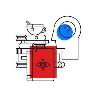 Ilustração colorida sobre psicologia. ícone do assunto da faculdade no fundo branco.
