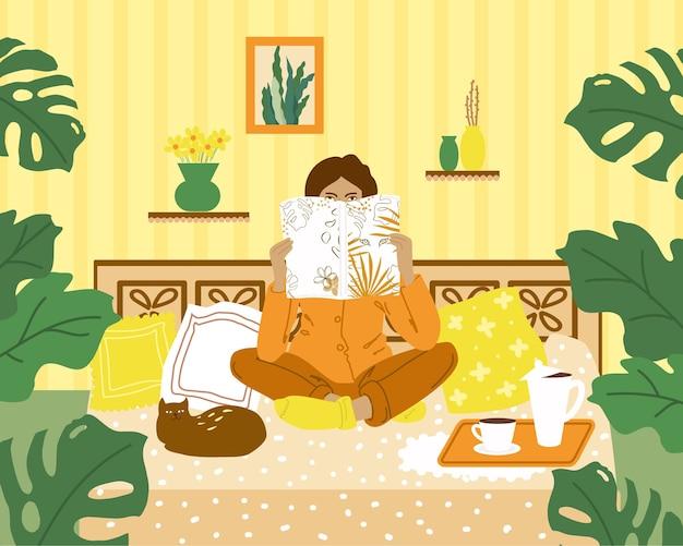 Ilustração colorida. uma garota lê uma revista em casa. objetos isolados.