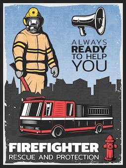Ilustração colorida vintage de combate a incêndios