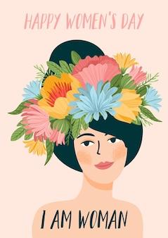 Ilustração com a mulher na grinalda da flor. cartão comemorativo do dia internacional da mulher