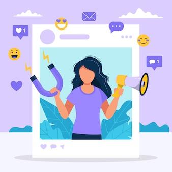 Ilustração com a mulher segurando o megafone e o ímã no quadro de perfil social.