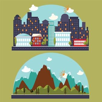 Ilustração com a paisagem da cidade e da montanha
