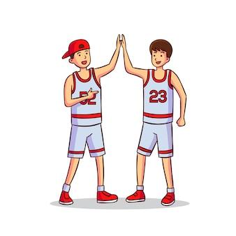 Ilustração com adolescentes dando mais cinco