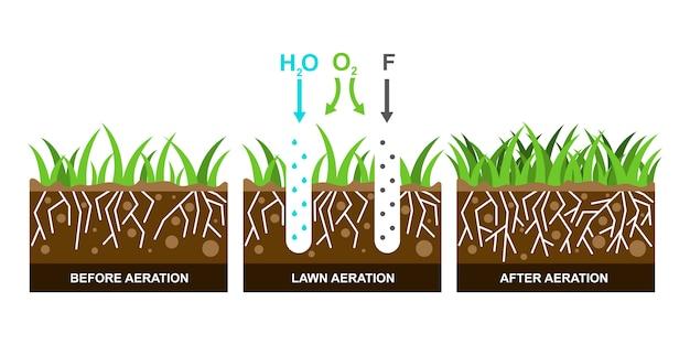 Ilustração com aeração do gramado.