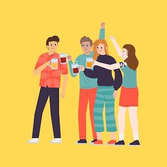 Ilustração com amigos brindando