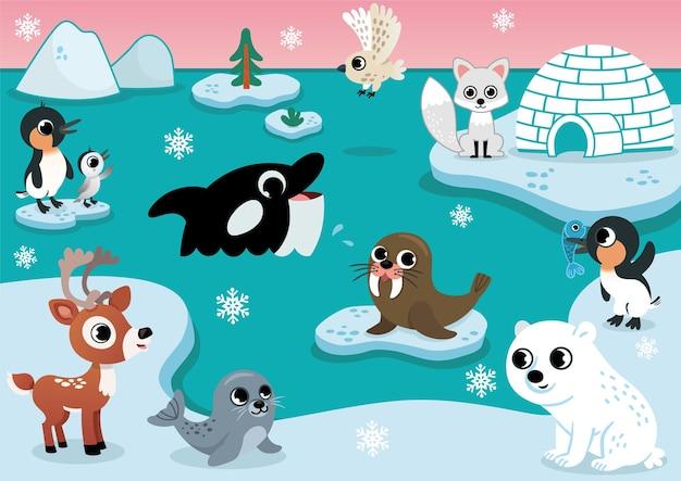 Ilustração com animais árticos urso polar, foca, morsa, coruja, pinguins, raposa, rena, baleia