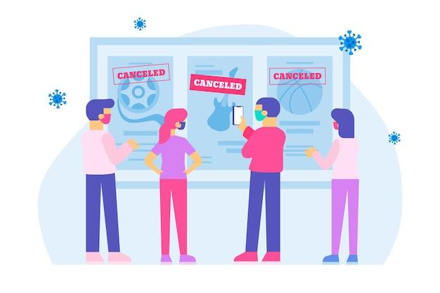 Ilustração com anúncio de eventos cancelados