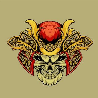 Ilustração com armadura de cabeça de crânio de samurai