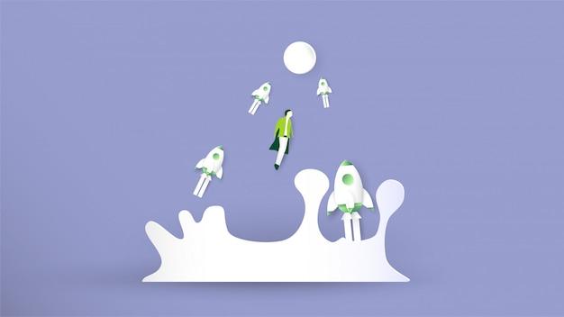 Ilustração com arranque de conceito em estilo de corte, artesanato e origami de papel. foguete está voando.