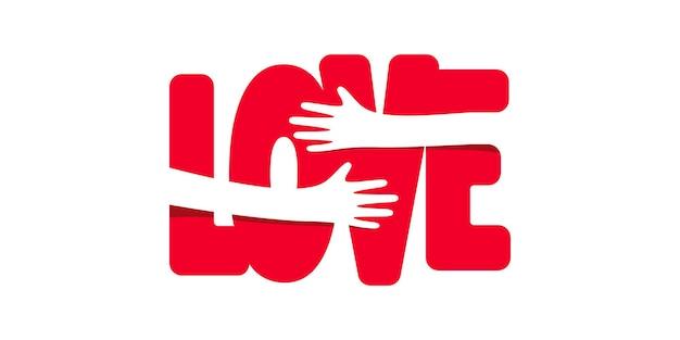Ilustração com as mãos a abraçar a palavra amor