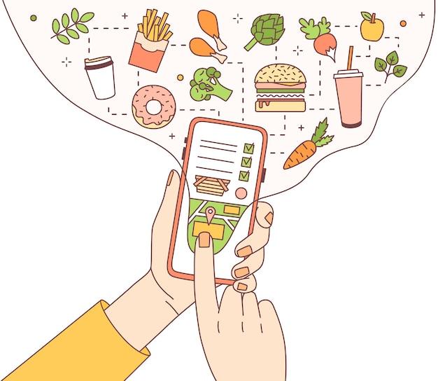 Ilustração com as mãos segurando um telefone com aplicativo móvel de serviço de entrega de comida