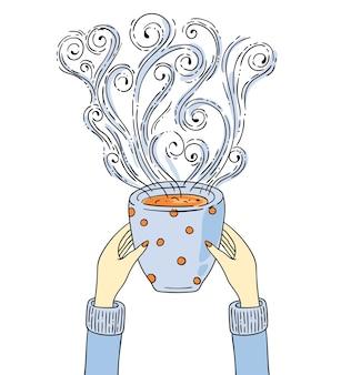 Ilustração com as mãos segurando uma xícara de café.