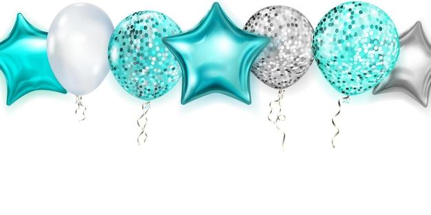 Ilustração com balões brilhantes nas cores azul claro e prata, redondos e em forma de estrelas, com fitas e sombras, sobre fundo branco