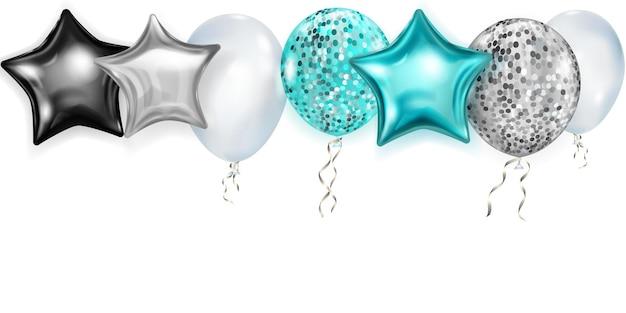 Ilustração com balões brilhantes nas cores azul claro, prata e preto, redondos e em forma de estrelas, com fitas e sombras, sobre fundo branco