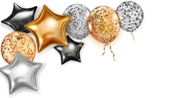 Ilustração com balões brilhantes nas cores dourado, preto e prata, redondos e em forma de estrelas, com fitas e sombras, sobre fundo branco
