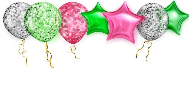Ilustração com balões brilhantes nas cores vermelho, prata e verde, redondos e em forma de estrelas, com fitas e sombras, sobre fundo branco