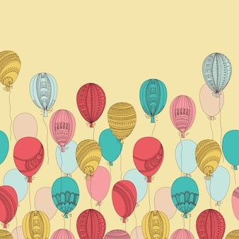 Ilustração com balões voadores coloridos