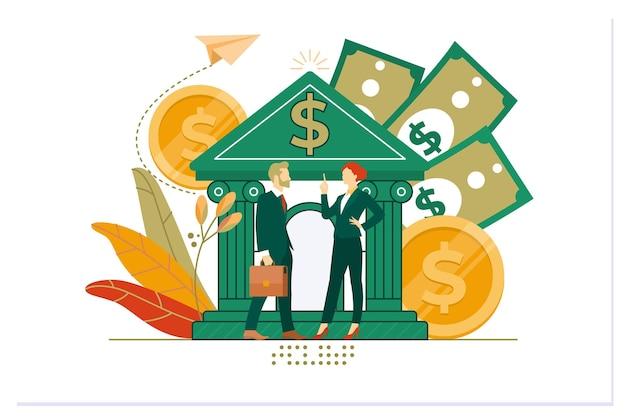 Ilustração com banco financiando serviços financeiros de câmbio