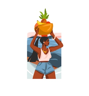 Ilustração com beleza negra feminina, carrega uma cesta de frutas na cabeça