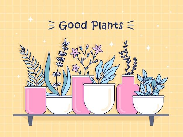 Ilustração com boas plantas