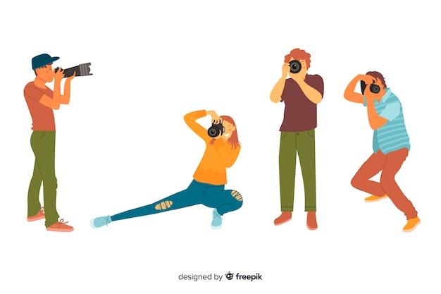 Ilustração com caracteres de fotografias