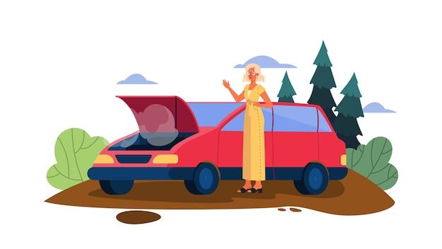 Ilustração com carro quebrado em uma estrada. carro quebrando acidentalmente na estrada. motorista triste e assustado.