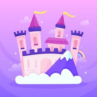 Ilustração com castelo de conto de fadas